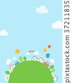 건물과 푸른 하늘 배경 37211835