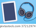 Empty tablet with headphone for Music and Movie 37212974
