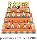 女儿节娃娃 展出的娃娃系列 分层货架展示娃娃 37213988