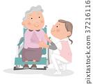 휠체어 노인 여성과 간호 도우미 여자. 37216116
