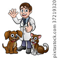 Vet with Pet Cat and Dog Cartoon Characters  37219320