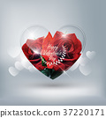 Heart transparent glass red rose low poly style 37220171