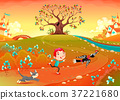 Friendship between a boy, woodpecker and kitten 37221680