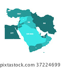 Map of Middle East, or Near East, in shades of 37224699
