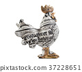Figurine of a rooster on a white background 37228651
