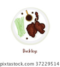Duck legs on plate with sauce, celery and anise 37229514
