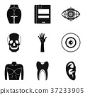 Dissection icons set, simple style 37233905