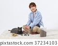 RF photo - woman single life with a companion pets  328 37234103