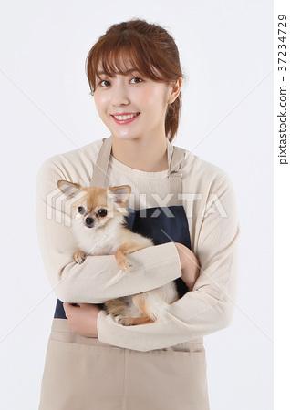 RF photo - Pet economy, Dog Beautician is caring a dog 027 37234729