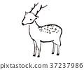 사슴, 수묵화, 동물 37237986