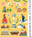 Korea travel symbol set 37238156