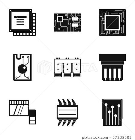 Chip icons set, simple style 37238303