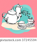 tea set by Hand made vector for breakfast 37245594