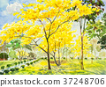 watercolor original painting golden tree flowers. 37248706