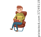 Young man sitting on the chair and reading a book 37249119