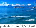 神奈川神奈川縣県江之島和富士山,早上在湘南海岸 37251541