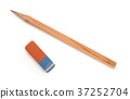 Top view of pencil and eraser 37252704