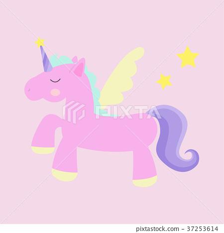 Cute magic unicorn vector illustration with stars. 37253614