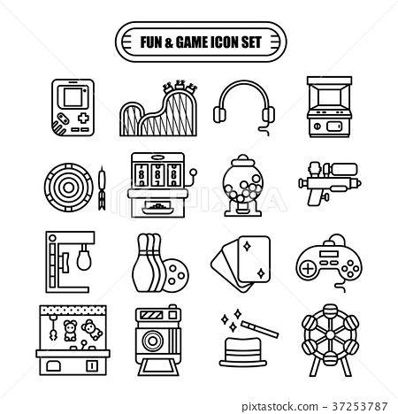 Fun and Game Line Design Icon Set 37253787