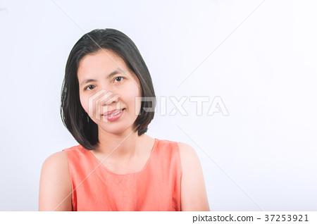 Petty Asia Thai Middle Aged Woman Smiling on White Background. 37253921
