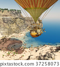 Fantasy hot air balloon over a coastal landscape 37258073