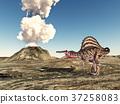 Dinosaur Spinosaurus and volcano 37258083