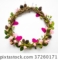 Festive wreath with roses and hearts. Flat lay 37260171