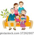 family, three generations, sofa 37262007