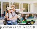 Multiethnic Travellers are looking the destination and holding the map at the train station, Travel and transportation concept 37262183