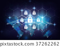 Security key lock icon digital display over the Part of digital earth on the Milky Way background, business technology securities and AI concept, Elements of this image furnished by NASA 37262262