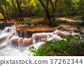 Beautiful waterfall in the deep forest,Pha Tat Waterfall, Kanchanaburi province, thailand, Nature travel concept 37262344