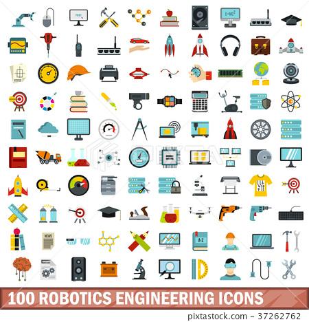 100 Robotics Engineering Icons Set Flat Style Stock Illustration