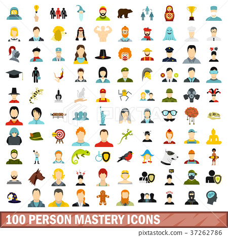 100 person mastery icons set, flat style 37262786