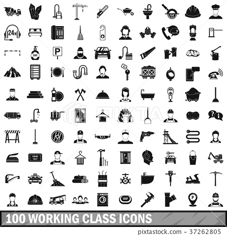 100 working class icons set, simple style 37262805