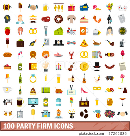 100 party firm icons set, flat style 37262826
