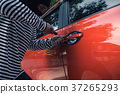 Car thief trying to unlock a car by screwdriver 37265293