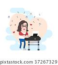 Lovely Female Pianist Ever Vector Character 37267329