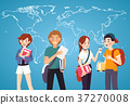 Set of students with books on world map background 37270008