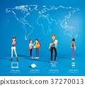 Set of students with gadgets on map background 37270013
