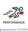 Running man icon for performance on white 37270304