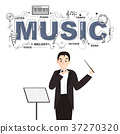 Conductor with music icons on white background 37270320