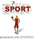 Sportsman with sport icons on white background 37270321