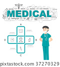 Physician with medical icons of infographic design 37270329