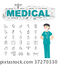 Physician with medical icons set 37270330