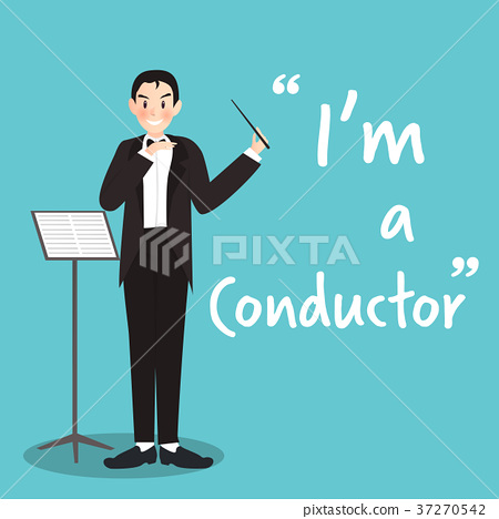 Conductor character on sky blue background  37270542