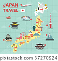 Japan landmark icons map for traveling 37270924