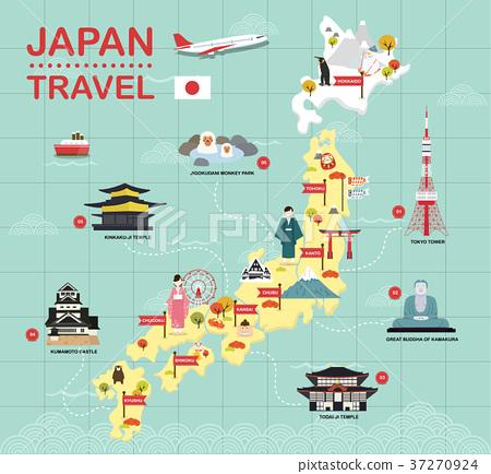 Japan landmark icons map for traveling 37270924
