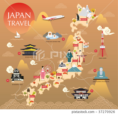 Japan landmark icons map for traveling 37270926