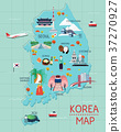 Traveling to korea by landmrks icon map 37270927