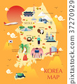 Traveling to korea by landmrks icon map 37270929
